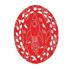 Moon Red Rocket Space Oval Filigree Ornament (two Sides) by Mariart