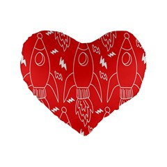 Moon Red Rocket Space Standard 16  Premium Heart Shape Cushions by Mariart