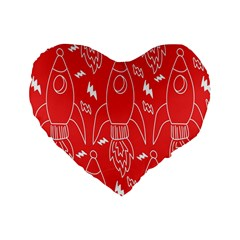 Moon Red Rocket Space Standard 16  Premium Flano Heart Shape Cushions by Mariart