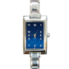 Rain Blue Sky Water Black Line Rectangle Italian Charm Watch by Mariart