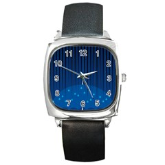 Rain Blue Sky Water Black Line Square Metal Watch by Mariart