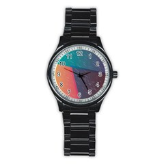 Modern Minimalist Abstract Colorful Vintage Adobe Illustrator Blue Red Orange Pink Purple Rainbow Stainless Steel Round Watch by Mariart