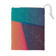 Modern Minimalist Abstract Colorful Vintage Adobe Illustrator Blue Red Orange Pink Purple Rainbow Drawstring Pouches (extra Large) by Mariart