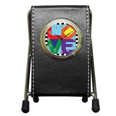 Rainbow Love Pen Holder Desk Clocks by Mariart