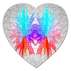 Poly Symmetry Spot Paint Rainbow Jigsaw Puzzle (heart) by Mariart
