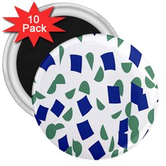 Scatter Geometric Brush Blue Gray 3  Magnets (10 Pack)  by Mariart