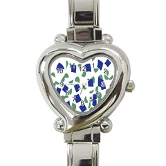 Scatter Geometric Brush Blue Gray Heart Italian Charm Watch by Mariart