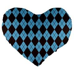 Plaid Pattern Large 19  Premium Heart Shape Cushions by Valentinaart