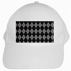 Plaid Pattern White Cap by Valentinaart