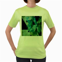 Plane And Solid Geometry Charming Plaid Triangle Blue Black Women s Green T Shirt by Mariart