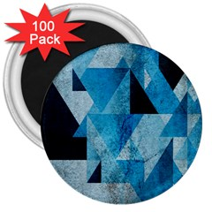 Plane And Solid Geometry Charming Plaid Triangle Blue Black 3  Magnets (100 Pack) by Mariart