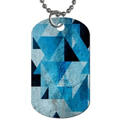 Plane And Solid Geometry Charming Plaid Triangle Blue Black Dog Tag (one Side) by Mariart