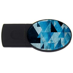 Plane And Solid Geometry Charming Plaid Triangle Blue Black Usb Flash Drive Oval (2 Gb) by Mariart