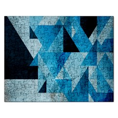 Plane And Solid Geometry Charming Plaid Triangle Blue Black Rectangular Jigsaw Puzzl by Mariart