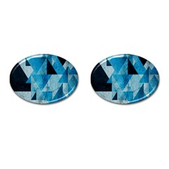 Plane And Solid Geometry Charming Plaid Triangle Blue Black Cufflinks (oval) by Mariart