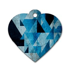 Plane And Solid Geometry Charming Plaid Triangle Blue Black Dog Tag Heart (two Sides) by Mariart