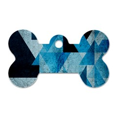 Plane And Solid Geometry Charming Plaid Triangle Blue Black Dog Tag Bone (two Sides) by Mariart