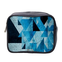 Plane And Solid Geometry Charming Plaid Triangle Blue Black Mini Toiletries Bag 2 Side by Mariart