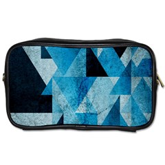 Plane And Solid Geometry Charming Plaid Triangle Blue Black Toiletries Bags 2 Side by Mariart