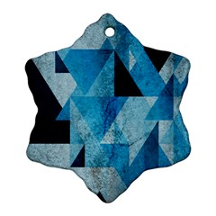 Plane And Solid Geometry Charming Plaid Triangle Blue Black Ornament (snowflake) by Mariart