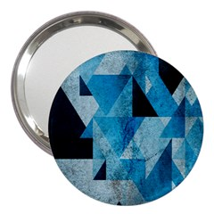 Plane And Solid Geometry Charming Plaid Triangle Blue Black 3  Handbag Mirrors by Mariart