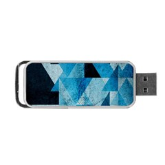 Plane And Solid Geometry Charming Plaid Triangle Blue Black Portable Usb Flash (two Sides) by Mariart