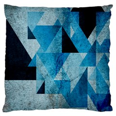 Plane And Solid Geometry Charming Plaid Triangle Blue Black Large Flano Cushion Case (one Side) by Mariart