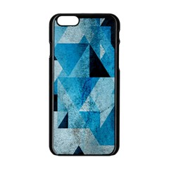 Plane And Solid Geometry Charming Plaid Triangle Blue Black Apple Iphone 6/6s Black Enamel Case by Mariart