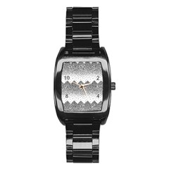 Original Plaid Chevron Wave Stainless Steel Barrel Watch by Mariart