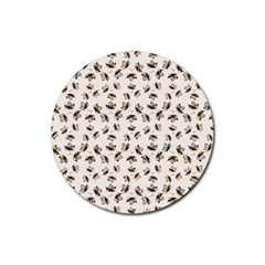 Autumn Leaves Motif Pattern Rubber Coaster (round)  by dflcprints