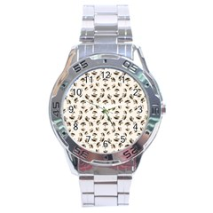 Autumn Leaves Motif Pattern Stainless Steel Analogue Watch by dflcprints