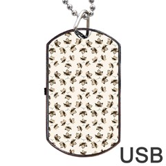 Autumn Leaves Motif Pattern Dog Tag Usb Flash (two Sides) by dflcprints