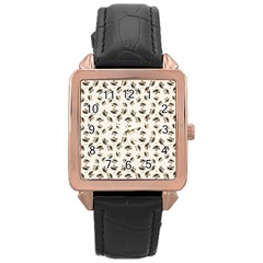 Autumn Leaves Motif Pattern Rose Gold Leather Watch  by dflcprints