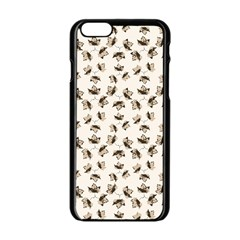 Autumn Leaves Motif Pattern Apple Iphone 6/6s Black Enamel Case by dflcprints