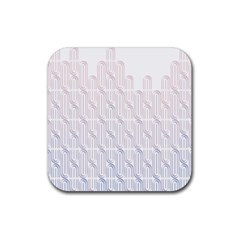 Seamless Horizontal Modern Stylish Repeating Geometric Shapes Rose Quartz Rubber Square Coaster (4 Pack)  by Mariart
