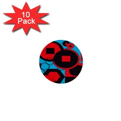 Stancilm Circle Round Plaid Triangle Red Blue Black 1  Mini Buttons (10 Pack)  by Mariart