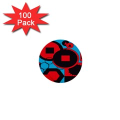 Stancilm Circle Round Plaid Triangle Red Blue Black 1  Mini Buttons (100 Pack)  by Mariart