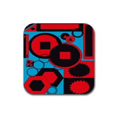 Stancilm Circle Round Plaid Triangle Red Blue Black Rubber Square Coaster (4 Pack)  by Mariart