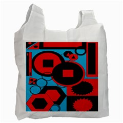 Stancilm Circle Round Plaid Triangle Red Blue Black Recycle Bag (two Side)  by Mariart