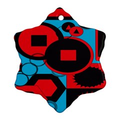 Stancilm Circle Round Plaid Triangle Red Blue Black Ornament (snowflake) by Mariart