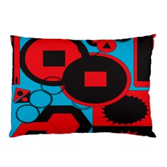 Stancilm Circle Round Plaid Triangle Red Blue Black Pillow Case (two Sides) by Mariart