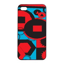Stancilm Circle Round Plaid Triangle Red Blue Black Apple Iphone 4/4s Seamless Case (black) by Mariart