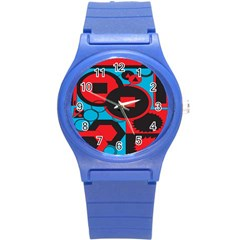 Stancilm Circle Round Plaid Triangle Red Blue Black Round Plastic Sport Watch (s) by Mariart