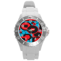Stancilm Circle Round Plaid Triangle Red Blue Black Round Plastic Sport Watch (l) by Mariart