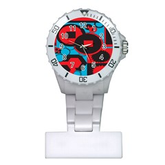 Stancilm Circle Round Plaid Triangle Red Blue Black Plastic Nurses Watch by Mariart