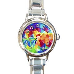Triangles Space Rainbow Color Round Italian Charm Watch by Mariart