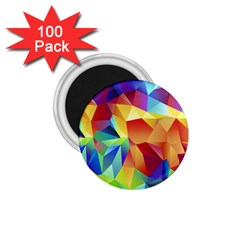 Triangles Space Rainbow Color 1 75  Magnets (100 Pack)  by Mariart