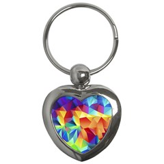 Triangles Space Rainbow Color Key Chains (heart)  by Mariart