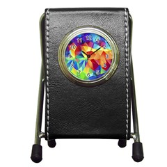 Triangles Space Rainbow Color Pen Holder Desk Clocks by Mariart