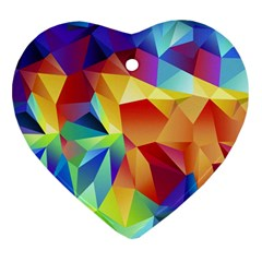 Triangles Space Rainbow Color Heart Ornament (two Sides) by Mariart